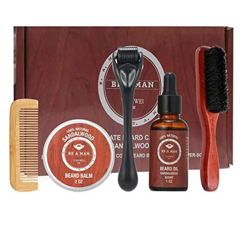 Kit para el Cuidado de la Barba Crecimiento de la Barba y estética Kit de Recorte del Pelo fijados Barba Peine Cepillo Estimular Crecimiento de la Barba con la Regla Shape Regalo para los