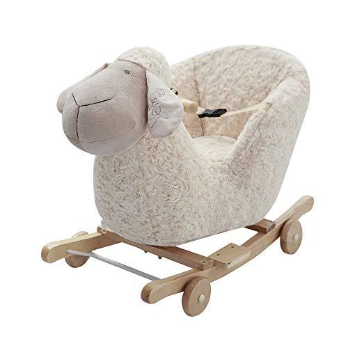 FZJDX Holz Schaukelpferd mit Glanz und Musik Netter Schaukelstuhl Babyschlafwerkzeug 12 Monate Kinderspielzeug