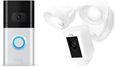 All-new Ring Video Doorbell 3 with Ring Floodlight Camera (White)