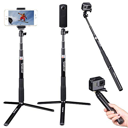 Smatree Telescoping Selfie Stick with Tripod Stand Compatible for GoPro Hero 9/8/7/6/5/4/3+/3/Session/GOPRO Hero (2018)/Cameras,DJI OSMO Action,Ricoh Theta S/V,Compact Cameras and Cell Phones