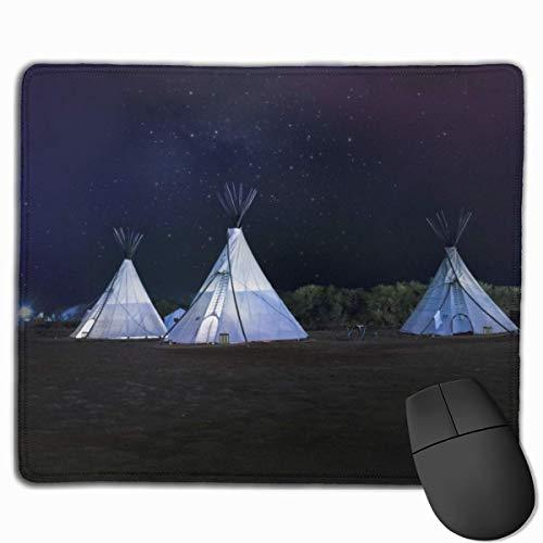 Drei weiße Tipi-Zelte Rechteckige rutschfeste Gaming-Mauspad Tastatur Tastatur Gummi-Mauspad für Heim- und Büro-Laptops