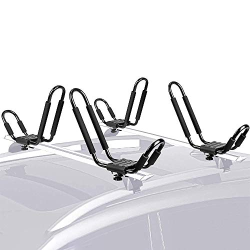 ASMSW 1 Set Kayak Roof Rack with Tie Down 2 Straps Kayak/&Canoe Carrier Storage Black Iron Top Mounted Car Crossbar