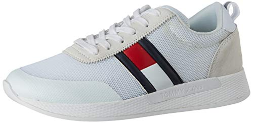 Tommy Hilfiger Flexi Tommy Jeans Flag Sneaker, Zapatillas para Hombre, Blanco (White Ybs), 43 EU