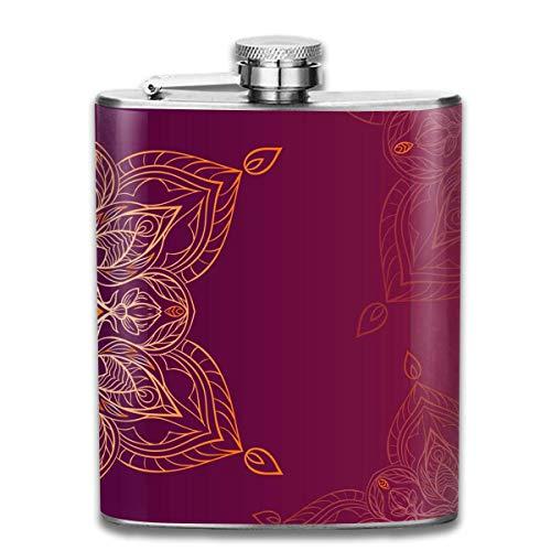 Presock Petacas,Violet Mandala 7 Oz Printed Stainless Steel Hip Flask For Drinking Liquor E.g. Whiskey, Rum, Scotch, Vodka Rust Great Gift