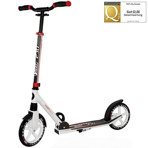 Best Sporting Scooter 230er Rolle, gefederter Cityroller mit ergonomischen Griffen, Kinder-Tretroller Farbe: weiß/rot