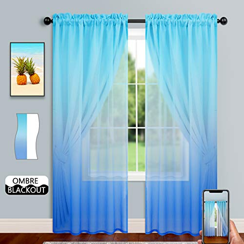 Blackout Curtains with Ombre Sheer Overlay for Bedroom Girls Room Double-Layered Rod Pocket Elegant Mix & Match Thermal Insulated Drapes for Living Room (Set of 2, 52x84 inch, Azure & Royal Blue)