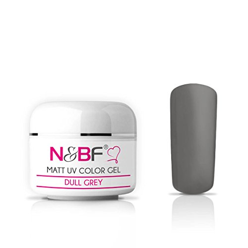 N&BF UV Farbgel Matt 5ml | Dull Grey (Grau) | Colour Gel Matte-Look | Effektgel für Gelnägel mittelviskos | Made in EU | Nagelgel Matt Finish | Colorgel ohne säure + selbstglättend