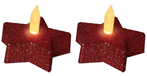 Star Décoration de table LED Tealight étoile rouge, 2 pièces, flamme vacillante piles incluses emballage blister avec,