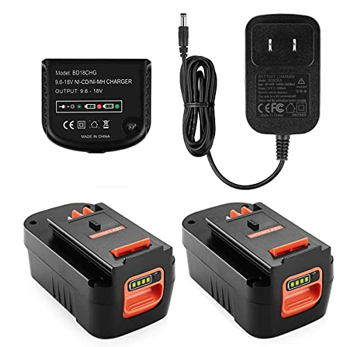 Powilling 2Pack 4.0Ah Lithium Battery Replacement for Black and Decker 18V Battery Firestorm 18v Battery HPB18 HPB18-OPE 244760-00 A1718 FS18FL FSB18 Firestorm 18V Battery(Charger Included)