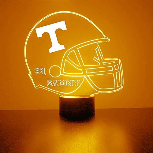 Mirror Magic Store Tennessee Volunteers Football Helmet Sports Fan Lamp/Night Light - LED - Personalize for Free - Featuring Licensed Decal