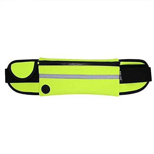 Aikesi Deportes Riñonera Ajustado Bolsa de Cintura, Estilo Deportivo y de Ocio,Poliéster Impermeable Size 40 * 9,5CM (Verde)