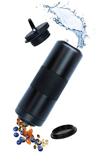 Dual Chamber Water Bottle and Snack Holder
