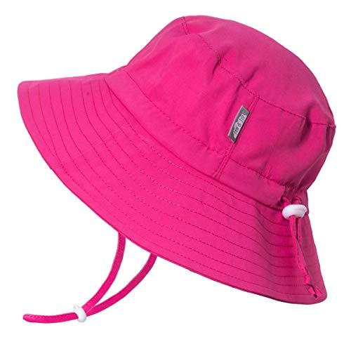 Jan & Jul Baby Mädchen Neugeborene Sonnen-Mütze UV 50 Atmungsaktiv Wasser-abweisend Eimer-Hut (S: 0-6 Monate, Heiße Rosa)