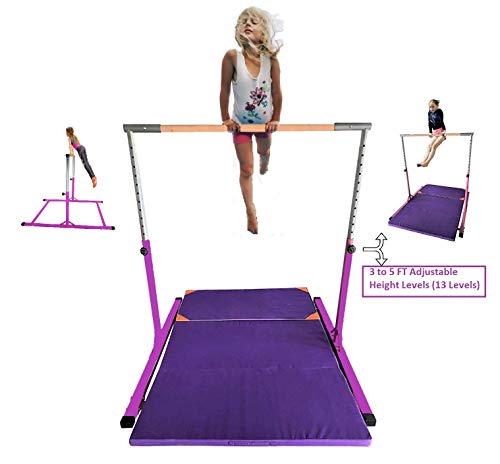 Kids Expandable Kip Bar with Tumble Mat Professional Horizontal Gymnastics Asymmetric Bar 4x8 FT Mat Jungle Gym Height Adjustable 3 to 5 FT Purple Mat