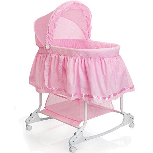 Babywiege/Stubenwagen mit Schaukelfunktion (Abnehmbarer Babykorb) (Pink)