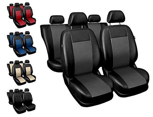 Carpendo Sitzbezüge Auto Set Autositzbezüge Schonbezüge Schwarz-Grau Vordersitze und Rücksitze - Airbag geeignet - Comfort