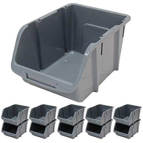 Hardcastle Large Grey Plastic Stacking Storage Bins x10