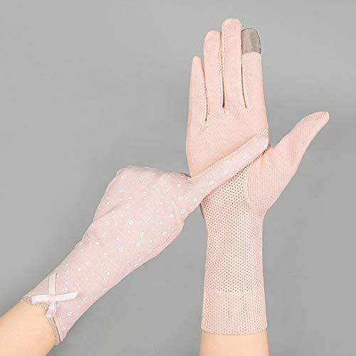 Guantes de conducción con Pantalla táctil Fina de algodón de Verano Medio para Mujer, Guantes de Manga de Bicicleta con protección Solar para Mujer, guantes-17light Pink