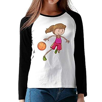 Onesunc FashionWomen's Print Playing Basketball Girl Cotton Graphic Long Sleeve Baseball T-Shirts XL Black from Onesunc