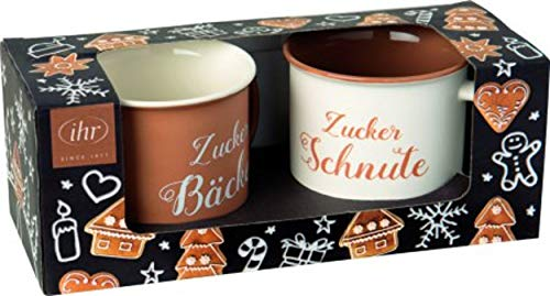 IHR Porzellanbecher - Set, Motiv: ZUCKERBÄCKER Black, Zucker-Schnute + Zucker-Bäcker