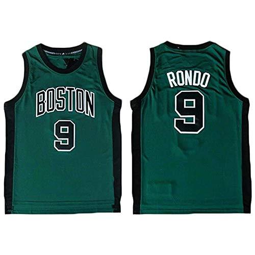XSJY Jersey di Pallacanestro da Uomo - NBA Boston Celtics # 9 Rajon Rondo Unisex T-Shirt Senza Maniche T-Shirt da Maglietta Ricamata Swingman Jersey,B,M:170~175cm/65~75kg
