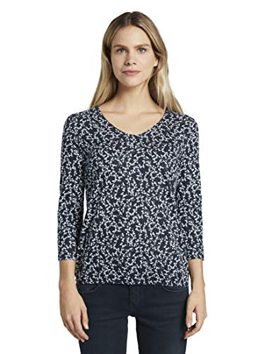 TOM TAILOR Damen T-Shirts/Tops Blusenshirt mit Print Navy Flowery Design,L