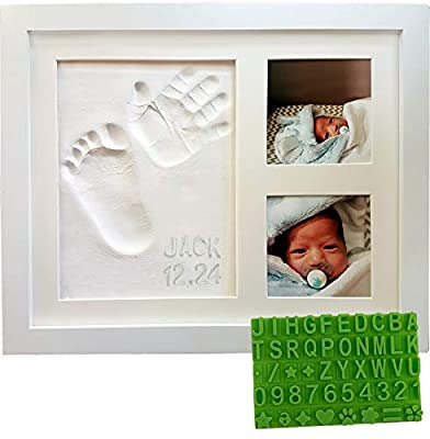 Baby Handprint & Footprint Keepsake Photo Frame Kit - Personzalize it w/Free Stencil! Non-Toxic Clay, Wall/Table Wood Picture Frame. Perfect Registry, Baby Shower, New Mom, Birthday & Newborn Gift!