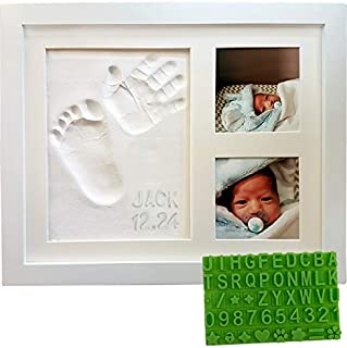 Baby Handprint & Footprint Keepsake Photo Frame Kit - Personzalize it w/ Free Stencil! Non-Toxic Clay, Wall/Table Wood Picture Frame. Perfect Registry, Baby Shower, New Mom, Birthday & Newborn Gift!