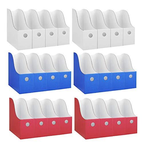 Dunwell Bulk Colored Magazine Holders - (24-Pack, Blue White Red), Sturdy Cardboard Magazine Holder, Magazine Organizer, Magazine Storage Boxes, Use Magazine File Organizer as Book Bins for Classroom