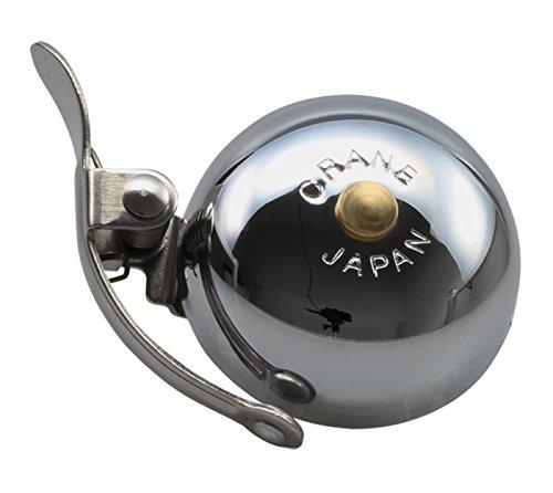 CRANE Bell Co. Mini Suzu with Steel Band Mount Messing Fahrradklingel, Verchromt, 45mm