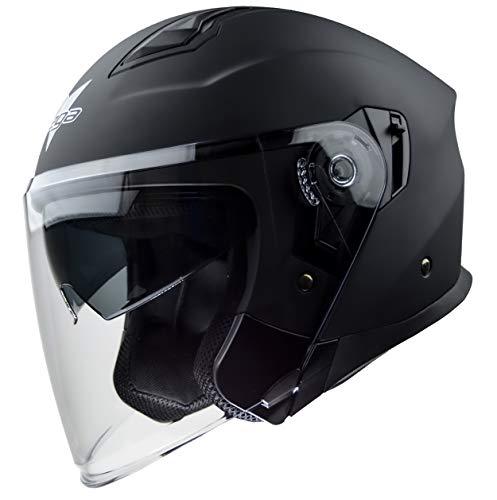 Vega Helmets 9000-054 Magna Open Face Motorcycle Helmet with Sunshield Unisex-Adult powersports (Matte Black, LG)
