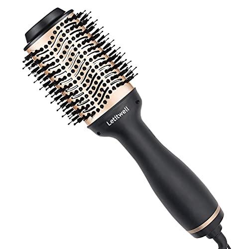 Secador de pelo, cepillo de aire caliente, secador de pelo y rizador de pelo, peine y peine alisador 4 en 1, cepillo de peluquería, secador de pelo redondo de cerámica