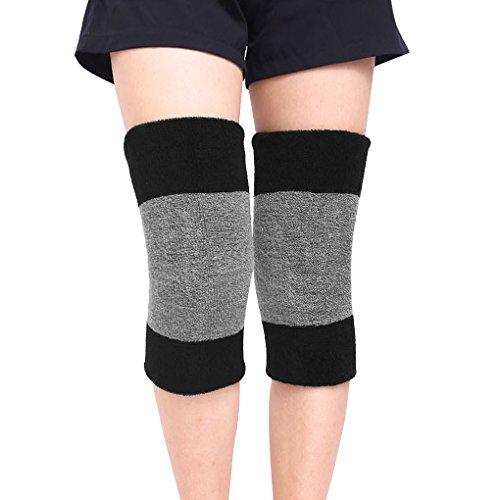 YJZQ 1 Paar Knieschoner Winter Kniebandage Baumwolle Knieschützer Wärmerschutz Elastische Kniewärmer Thermo Knieorthese für Freizeit und allerlei Sport