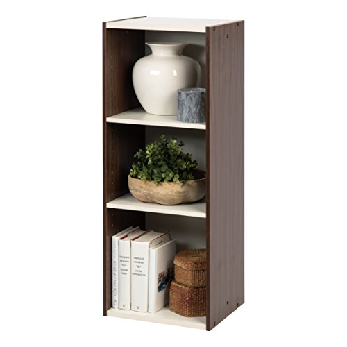 IRIS USA Ub Shelf ' W X H Inch Space Saving Unit with Adjustable Shelves, 14' 35' H, White/Walnut Brown