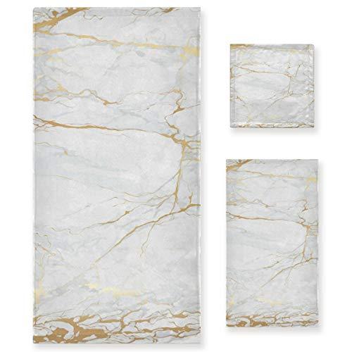 Pac Mac Juego de 3 toallas de algodón de mármol blanco con líneas doradas, súper suaves (1 toalla de baño, 1 toalla de mano, 1 toalla) para baño, hotel y spa
