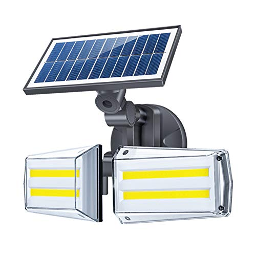 Luz Solar Exterior Foco 80 LED con Sensor de Movimiento 80 LED Impermeable IP65 Gran Ángulo 270º de Iluminación 3 Modos Inteligentes para Entrada Garaje, Patio, Jardín Decorativa