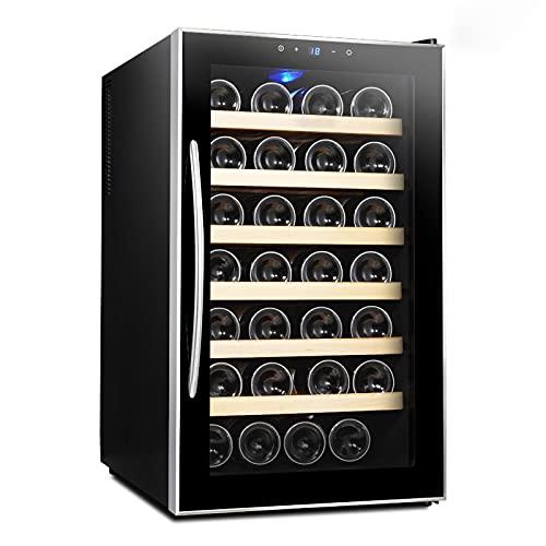 VIY Nevera para vinos, Nevera para Bebidas Capacidad hasta 28 Botellas, Temperaturas 12 a 18 °C, Panel Control táctil, Iluminación LED, Negro