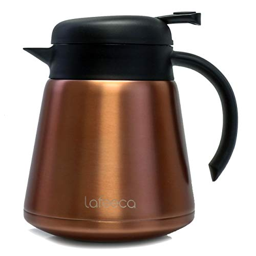 Lafeeca Thermal Coffee Carafe Tea Pot Stainless Steel, Double Wall Vacuum Insulated | Cool Touch Handle | Hot & Cold Retention | Non-Slip Silicone Base | BPA Free Copper