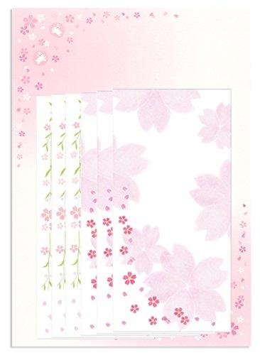 【Amazon.co.jp 限定】和紙かわ澄 桜 和紙たより レターセット 封筒2柄3枚合計6枚 桜うさぎ便箋20枚入 Aセット