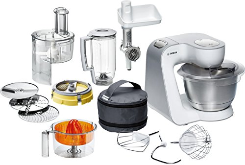 Bosch Styline Robot de cocina con accesorios, 450 W, 3.9 litros, 7 Velocidades, Acero inoxidable, Blanco