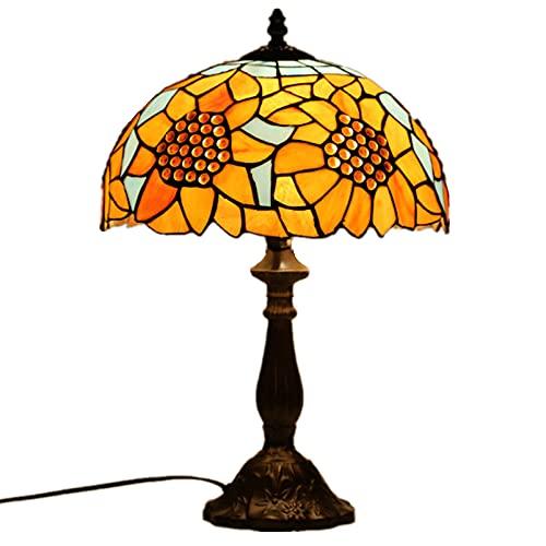 Cutfouwe Tiffany Style Lámpara de Mesa Lámpara de Escritorio, Vintage Pastoral Hermosa Flores Manchado Dormitorio Sala de Estudio Sala de Estar Barra de Cama Lámpara de Noche,30 * 45cm