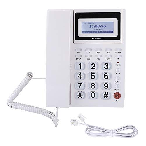 Telefono con Filo Telefono, Display LCD Home Hotel Telefono Fisso con Filo Metallico Fisso Telefono, Pulsanti Grandi Telefono con Filo con Vivavoce(Bianca)