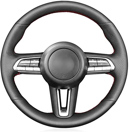 LIUJTAO - Funda de cuero para volante de coche para Mazda CX-30 CX30 2019-2020 Mazda 3 Axela 2019-2020-Red_Thread