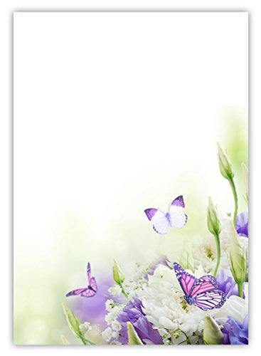 LYSCO Motiv Briefpapier (Blumen+Schmetterlinge-5022, DIN A4, 25 Blatt). Einseitig bedrucktes Briefpapier, sehr gut beschreibbar, Motivpapier für alle Drucker/Kopierer geeignet Motiv blau / weiße Blumen mit Schmetterlingen