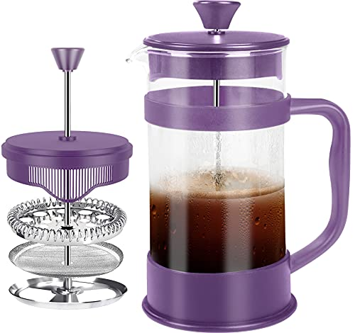 Utopia Kitchen French Press Espresso and Tea Maker with Triple Filters, Stainless Steel Plunger and Heat Resistant Borosilicate Glass (Plum)