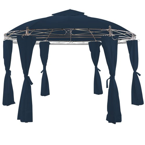 Deuba Gazebo Tuscany Metal Frame 3.5m Side Walls Included Round Outdoor Sun Shade Canopy Awning Blue