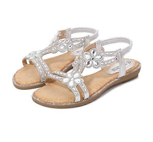 Sandalias bohemias para mujer, cómodas, planas, brillantes, sandalias de playa, sandalias de playa a la moda, 123, plata, 40
