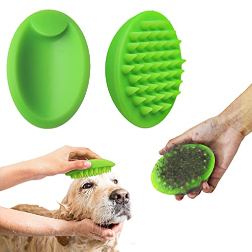 Blingbrione Bath/Massaging/Grooming 3 in 1 Pet Soft Silicone Non-Slip Brush for Cats & Dogs, Removing Loose Undercoat/Cleaning Skin Gently/Making Hair More Gloss, Suitable for Short Long Hair pets.