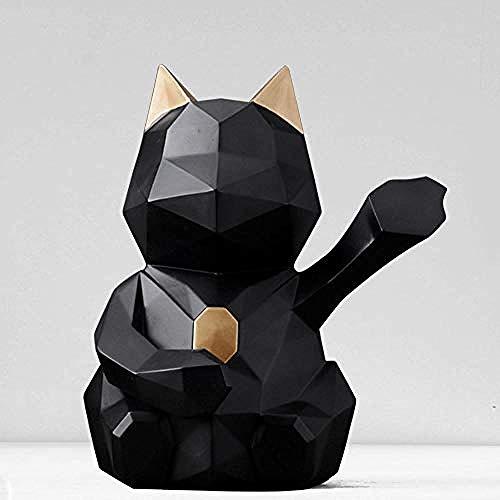 Ornamenten Beeldhouwwerk Hars Ambachtelijke Gelukskat Decoratie Huis Woonkamer Tv Kast Decoratie Cadeau-Zwart