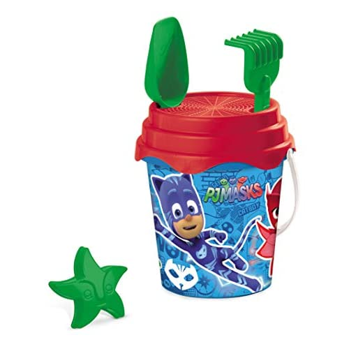Mondo Toys PJ Masks Bucket Set, Set Mare Renew Toys con Secchiello, Paletta, Rastrello, Setaccio, Formina, Annaffiatoio Inclusi, 28284